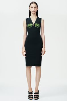 Christopher Kane | Resort 2015 | 13 Black sleeveless midi dress with green lace detail