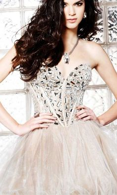 Strapless Nude Party Dress by Sherri Hill SH-1403