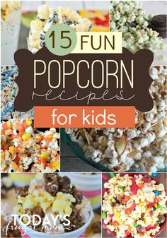 Our family loves trying new fun popcorn recipes! Here are 15 fun popcorn recipes for kids to try during your next family game night! Enjoy! :: todaysfrugalmom.com