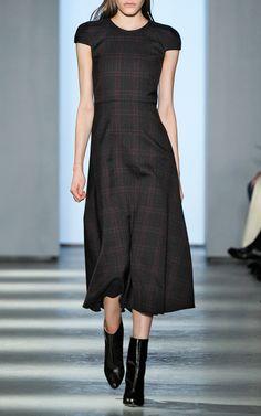 Houndstooth Plaid Short Sleeve Bell Skirt Dress by Wes Gordon