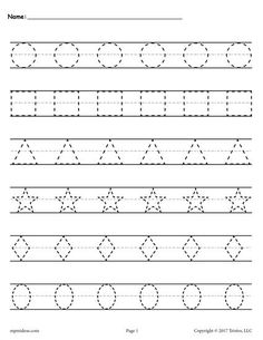 Free printable shapes worksheets for toddlers and preschoolers. Preschool shapes activities such as find and color, tracing shapes and shapes coloring pages. Shapes Worksheet Kindergarten, Alphabet Tracing Worksheets, Printable Preschool Worksheets, Shapes Worksheets, Worksheets For Kids, In Kindergarten, Tracing Letters, Printable Shapes, Cursive Alphabet