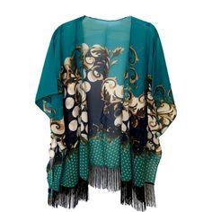 Fringe Kimono Jacket Teal ($58) ❤ liked on Polyvore featuring outerwear, jackets, fringe kimono, fringed kimono jacket, fringe jacket, sheer kimono jacket and half sleeve jacket