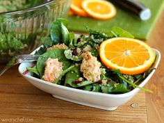 Kale and Quinoa Salad with Salmon (or chicken!) and Orange Vinaigrette…