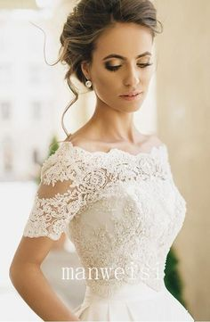 Elfenbein Hochzeit Jacken Spitze Schulterfrei Kurzarm Braut Bolero Wraps Neu - Ivory Wedding Jackets Lace Off Shoulder Short Sleeve Bridal Bolero Wraps New - 2016 Wedding Dresses, Elegant Wedding Dress, Elegant Dresses, Bridal Dresses, Wedding Gowns, Trendy Wedding, Wedding Ideas, 2017 Wedding, Wedding Trends