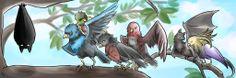 Bat and his Birds, love how Cassi looks more bat then Bird