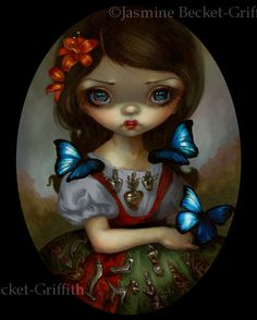 Inspired by the wonderful milagros charms on a lot of the folk art I saw in Mexico last week. This lovely girl has many of them adorning her dress, surrounded by beautiful butterflies. Milagros cha...