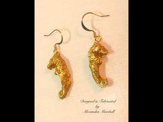 Love these little gold leafed seahorse earrings hand cast from real specimens by Alexandra Marshall. $32. reference #E2322. To order double click on the photo.