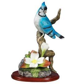 Blue Jay Porcelain Bird Figurine with Flowers on Wood Base - Wildlife Collectible Banberry Designs http://www.amazon.com/dp/B004NPQKUC/ref=cm_sw_r_pi_dp_0gBOtb1WHAV9JZ4B