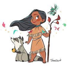 Baby Pocahontas with Meeko and Flit by Disney artist Steve Thompson Disney Pixar, Disney Pocahontas, Disney Animation, Disney Amor, Disney Fan Art, Disney And Dreamworks, Walt Disney, Disney Characters, Pocahontas Drawing