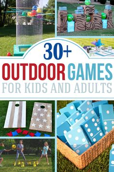 Looking for fun backyard games and activities? These outdoor games are perfect for adults and kids alike. Includes DIY lawn games like cornhole boards, horseshoes, obstacle courses, giant Jenga, glow in the dark tosses or awesome pool noodle activities as well as games with no supplies. #kidsactivities #outdoors #diy #diygames