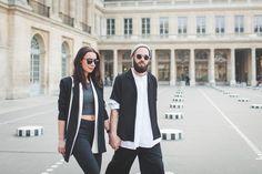 J'aime tout chez toi - Black & white outfit - fashion couple - Les colonnes de Buren, Paris