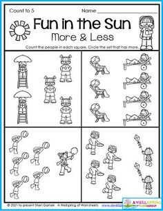 Outside is the place to be in the summer. Your kids can even do this worksheet outside! In it they'll find kids who are on the move. Just count how many in each set and circle the ones with more. Please take a look at my entire set of July Counting Worksheets. There's plenty for kids to do in these 30 summer themed worksheets...count to 5, count to 10, trace numbers up to 20, color by number, graph, and more! Counting Worksheets For Kindergarten, Summer Worksheets, Graphing Worksheets, Alphabet Tracing Worksheets, Writing Lines, Upper And Lowercase Letters, More And Less, Business For Kids, Numbers