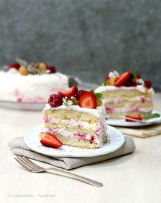 Danish Layer Cake (Lagkage) with Whipped Cream and Berries