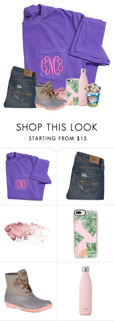 """""""Cutee"""" by brookespreppy ❤ liked on Polyvore featuring Abercrombie & Fitch, Casetify, Sperry, S'well, casual, preppy, monogram and winter2018"""