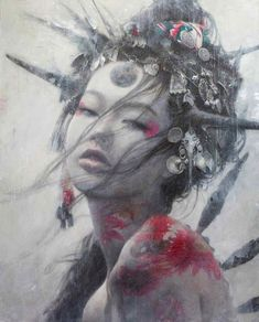Romulo Royo (son of Luis Royo), Flowers and Thorns. Dark Fantasy Art, Dark Art, Art Geisha, Mark Rothko Paintings, Art Asiatique, Luis Royo, Art Japonais, Art Et Illustration, Gothic Art