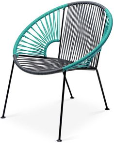 Mexa Ixtapa Lounge Chair, Gray/Turquoise - Handcrafted by skilled artisans and certified welders in Mexico, this modern lounge chair is crafted of woven, UV-protected PVC cord in gray and turquoise with a powder-coated steel frame. While it's designed for use on the porch or patio, a sleek silhouette and impressive durability also make it a great choice for an indoor sunroom or even a playroom. Furniture > Outdoor Furniture > Outdoor Deck Chairs.