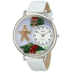 Whimsical Unisex Christmas Gingerbread White Leather Watch. #gingerbread #gingerbreadman #watch