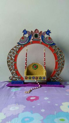 Thali Decoration Ideas, Ganpati Decoration At Home, Diwali Decorations, Festival Decorations, Diy Arts And Crafts, Hobbies And Crafts, Decor Crafts, Diy Crafts, Ganesh Chaturthi Decoration