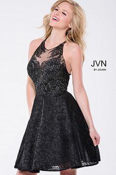 f0ec57a0dcf Black Embellished Fit and Flare Backless Short Dress JVN41426  JVN   FitandFlareDress  Promdress