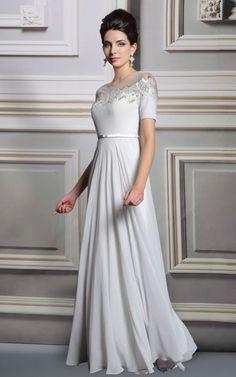 人気の袖つき 優雅なホワイト系ロングドレス - ロングドレス・パーティードレスはGN|演奏会や結婚式に大活躍!
