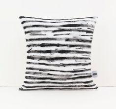 Black and White pillow - Screen printed cushion - Modern home decor - Handpainted pillows - Scandinavian modern - Linen pillow