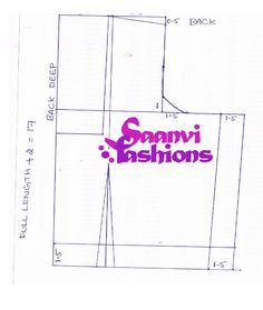 Saree Blouse pattern showing how to translate model's measurements to the pattern