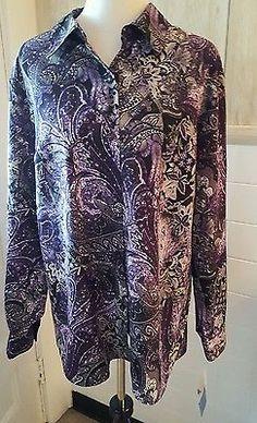 Women's Plus Size 22W  Long Sleeve Button Floral Purple Shirt Top NWT