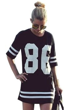 9f0f3a724 Lovaru Women s Summer Celebrity Oversized Baseball T Shirt Top Loose Dress  Item will be sent from China for free by E-packet or China Post Air Mail  Package