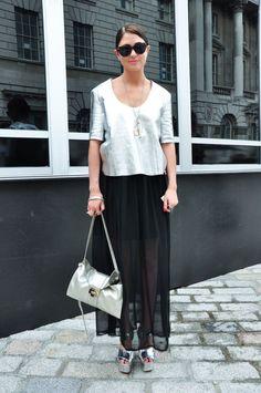 Silver shell top & sheer black maxi skirt