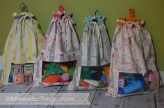 DIY Drawstring Sacks For Toy Storage.  Bags with a window in them so kids know what's in them