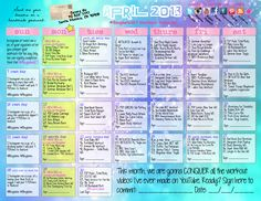 Blogilates Workout Schedule for the Month of April. . .just found this website 3 weeks ago and I can already tell the difference. Cassy Ho will kick your butt! :)