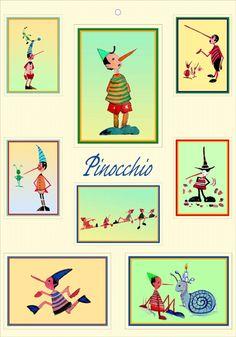 Poster per bambini di Pinocchio - Stampe di Massimo Pantani, Pantani Arte San Gimignano (Siena)