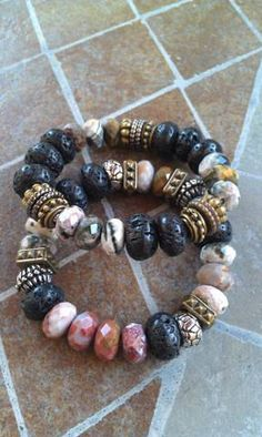 StoneEdge chunky semi precious gemstone bracelet set by LilaRoseJewelry on Etsy, $77.00