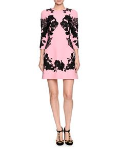 3/4-Sleeve+Mirrored+Lace+Dress,+Pink/Black+by+Dolce+&+Gabbana+at+Bergdorf+Goodman.
