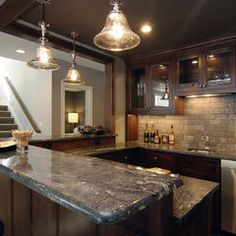 great ceiling over bar area. Also, we love the backsplash.
