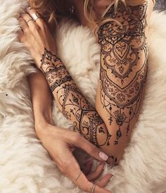 Cute henna lace arm tattoo ideas you should try 22 lace sleeve tattoos, sleeve tattoos Elegant Half Sleeve Tattoos, Lace Sleeve Tattoos, Henna Sleeve, Leg Tattoos, Fake Tattoos, Skull Tattoos, Woman Sleeve Tattoos, Mandala Sleeve, Quarter Sleeve Tattoos