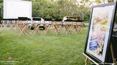 Custom Built  Drive In Movie Screen with Vintage Cars and Director's Chairs (Nantucket Tents - www.nantuckettents.com) Design by Dawn Kelly Designs www.dawnkellydesigns.com #nantucket #dkd