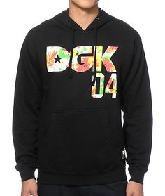 """Brighten your style with a multicolor floral print """"DGK 04"""" chest and """"Maui Wowi 20"""" back graphic with a soft fleece lining for dank comfort."""