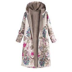 Big SALE Plus Size Coat Long Winter Jacket Women Winter Warm Outwear Floral Print Hooded Pockets Vintage Oversize Coats veste femme Long Winter Jacket, Long Winter Coats, Oversize Mantel, Oversized Coat, Damen Mantel Winter, Parka Coat, Trench Coats, Women's Coats, Haute Couture
