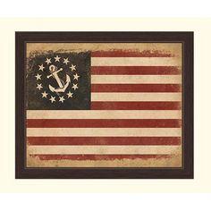 Click Wall Art Anchored In America Flag Framed Graphic Art Size 13 H X 11 W X 1 D Framed Flag Art Plaque Blue Wall Art