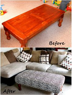 DIY Ottoman from an old coffee table - We have this same coffee table in the kids play area - Amazing Interior Design Refurbished Furniture, Repurposed Furniture, Furniture Makeover, Furniture Projects, Home Projects, Diy Furniture, Diy Ottoman, Ottoman Ideas, Old Coffee Tables