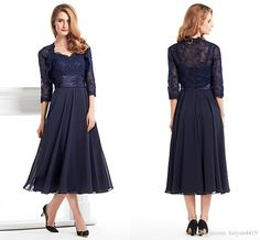 2016 Vintage Mother of the Bride Dresses Sweetheart Navy Blue Chiffon Lace Appliques Plus Size Tea Length Wedding Guest Gowns With Jacket Online with $109.55/Piece on Haiyan4419's Store   DHgate.com