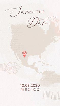 Destination Wedding Invitation Video Unique destination wedding invitation perfect if you are planning a travel wedding theme. The location on the world map . Electronic Wedding Invitations, Passport Wedding Invitations, Wedding Invitation Video, Creative Wedding Invitations, Indian Wedding Invitations, Save The Date Invitations, Wedding Invitation Design, Wedding Stationery, Party Invitations