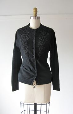 vintage 1950s cardigan / 50s sweater / Black Beads by Dronning, $45.00