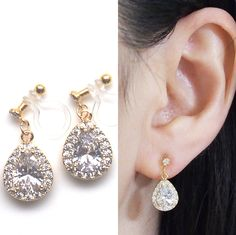 Cz crystal invisible clip on earrings dangle,cubic zirconia clip on earrings bridal,wedding gold clip earrings,non pierced earrings Bridal Earrings, Clip On Earrings, Pierced Earrings, Dangle Earrings, Wedding Clip, Wedding Gold, Wedding Dress, Pearl Jewelry, Diy Jewelry