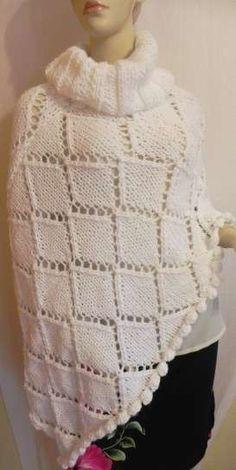 Poncho a maglia: foto e modelli - Poncho panna a rombi