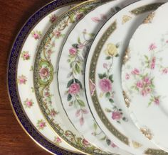 Vintage Mismatched China Bread Plates by michilina on Etsy