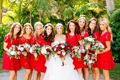 stunning red bridesmaid dresses