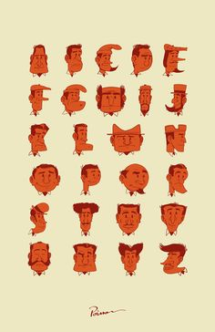 TypeFace by Julien Poisson — an #alphabet made out of faces. #typography #illustration Typography Served, Typography Alphabet, Typography Love, Creative Typography, Typography Inspiration, Typography Poster, Creative Inspiration, Cartoon Head, Childrens Artwork