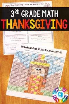 Grade Thanksgiving Activities: Grade Thanksgiving Math (Color by Number Thanksgiving Classroom Activities, Thanksgiving Worksheets, Thanksgiving Activities, Classroom Fun, Thanksgiving Crafts, Future Classroom, 3rd Grade Words, Third Grade Math, 3rd Grade Activities